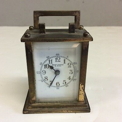 """New Haven Brass/Beveled Glass Carriage Clock 2.5"""" T."""