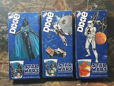 3 Vintage Star Wars Dixie Cups Fun Cup Darth Vader Stormtrooper X-Wing 1980 DJ
