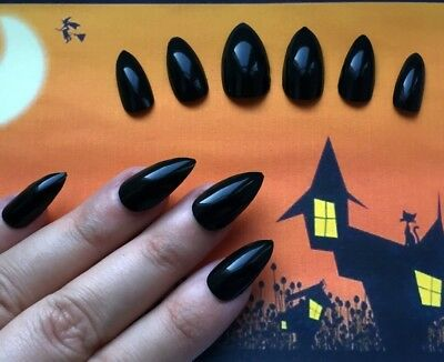 Hand Painted False Nails STILETTO (or ANY SHAPE) Gloss Black HALLOWEEN Witch UK