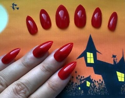 Hand Painted False Nails STILETTO (or ANY SHAPE) Gloss Red HALLOWEEN Witch UK