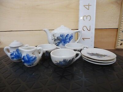 Vintage Porcelain Child Tea Set Blue Dragon Japan