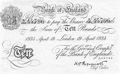 Great Britain  10 Pounds 19.4.1934  P 336ax  Series  K/134 Uncirculated Banknote