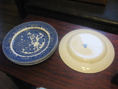 4 Allerton England Blue Willow Dinner Plates 9 3/4 Inches