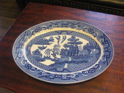Vintage Blue Willow Oval Platter Japan 9 x 12 Inches