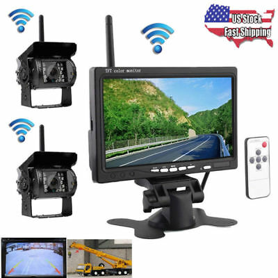"7"" Monitor & 2pcs Wireless Rear View Backup Camera Night Vision for RV Truck Bus"