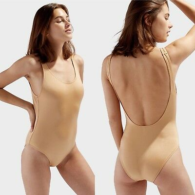 Solid And Striped M The Anne Marie One Piece Swimsuit Shiny Gold NWT Low Back