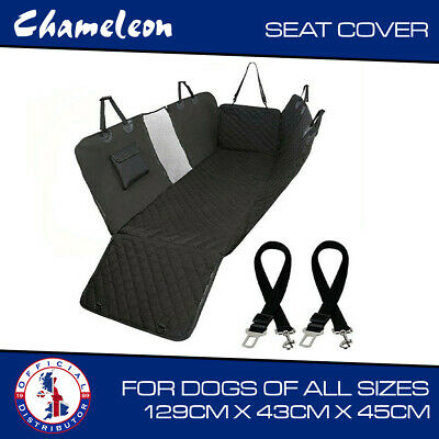 Dog Car Seat Cover for Pets Waterproof + 2 dog Seat-belt Harnesses - UK stock