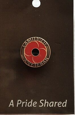 Family of a Veteran Poppy Lapel Pin *Remembrance Day * ANZAC Day*NEW 25mm