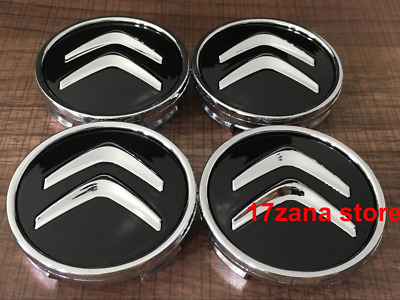 4x Citroen Alloy Wheel Centre Hub Caps in Black C1 C3 C4 DS3 + most models 60mm