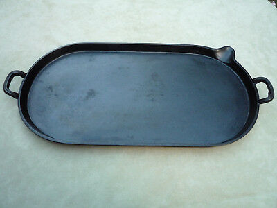 """Cast Iron Oval Griddle 21""""x11"""" Griswold Quality pre 1891Clean Seasoned Antique"""