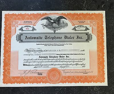 1936 Automatic Telephone Dialer Inc. Stock Certificate Delaware