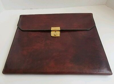 Vintage Leather BOSCA Hand Stained Hide Oxblood color Portfolio