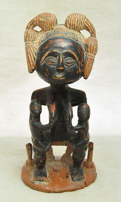 VTG African Maternity Wood Carving Statue Mother With Children