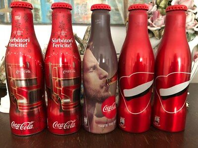 5 Coca Cola Alu Bottles Limited Edition Empty Rare minor dents or scratch