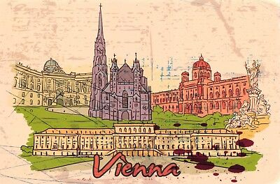 Art Postcard, Vienna, Austria, Landmarks, City, View, Travel 96H