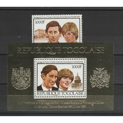 Togolaise - Togo 1981 The Royal Wedding  Lady Diana 1 Val+1 Bf Mnh Mf58030