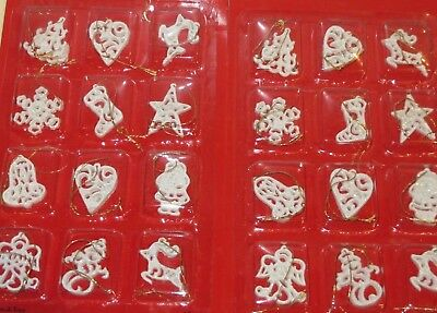 24 Mini Christmas Ornaments white NIP tree reindeer heart bell santa angel flake