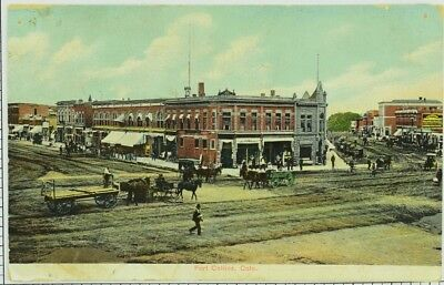 1945 Fort Collins Colorado Downtown Horse Carriage Postcard