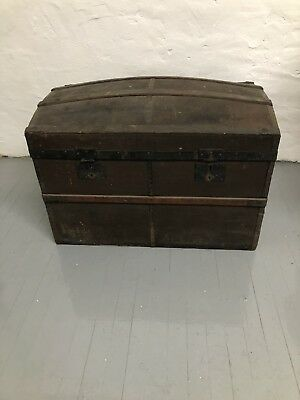 Antique Hump Back Trunk  Dome Top Chest Camel Storage Pirate Steamer Vtg