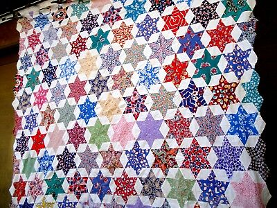 Vintage 30's 40's Six point star Quilt Top hand stitched