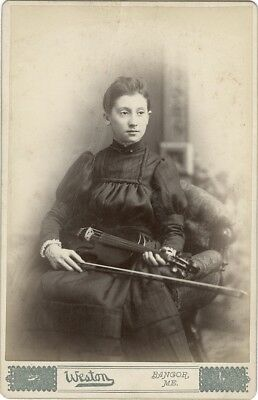 Cabinet Card of a Young Girl with Her Violin c.1880