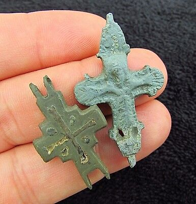 Beautiful 2 x Byzantine Half ENCOLPION CROSSES  circa 1300 AD (+157)