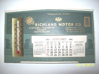 1960 Calendar,thermometer,richland Motor,st. Clairsville,ohio,chrysler,plymouth