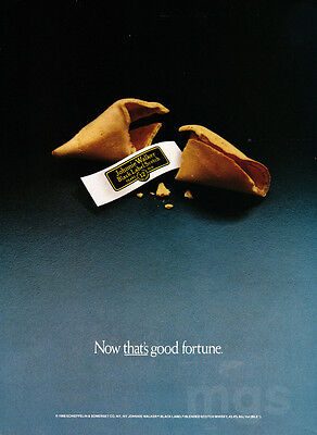 Johnnie Walker Black print ad 1989 Now That's Good Fortune