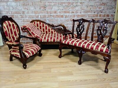 Vintage *3 Pc Set* Child Size Fainting Couch /Chaise Lounge, Love Seat & Chair!