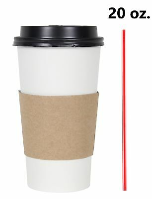 100 Set 20 Oz. Disposable Hot Tea Paper Coffee Cups With Lids Sleeves Stirrers