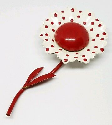 Unique Vintage Red & White Polka Dot Sun Flower Mid Century Layered Brooch Pin