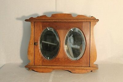 Vintage Antique French Oak Medicine Apothecary Bathroom Kitchen Wall Cabinet M1