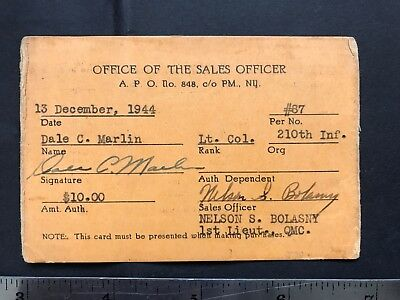 Puerto Rico 1944 Military Ration Card, Office of the sales Officer , 210th Inf.