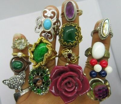 Lot #2  15 Fun Vintage ~ Now Costume Fashion Rings Cocktail Jewelry Rhinestone