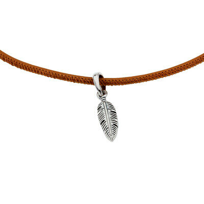 32bf3191b Pandora Golden Tan Leather Choker Necklace With Feather Pendant 397197CGT38