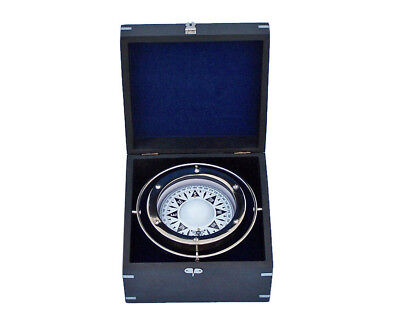 "Lifeboat Gimbal Ship's Compass Chrome 9"" Black Rosewood Case Nautical Desk Decor"