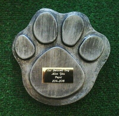 Dog or cat  Pet Memorial with plaque  headstone/stone/memorial paw  no 2