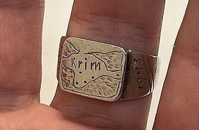 Original 1943 WW2 WW II German Soldiers Krim Map JAITA Coin Silver Ring Sz 11.50