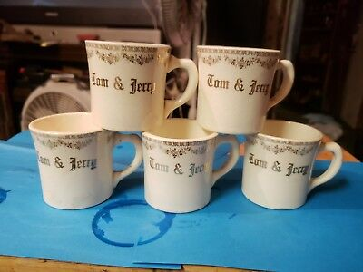 Set Of 5 Vintage Tom And Jerry Tea Cups