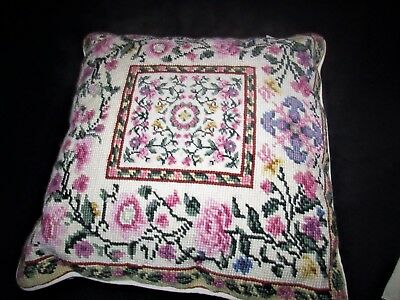 """Loie Wool  Needlepoint  Pillow Floral 13"""" Sq"""
