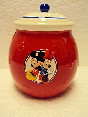 """Disney Minnie Mickey Mouse Ceramic Cookie Jar Canister Red White Blue Stars 7"""""""