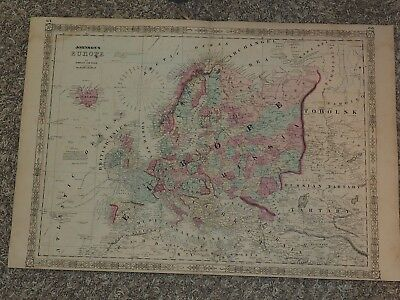 """1863 Johnson's EUROPE by Johnson and Ward hand colored 18"""" x 26"""""""