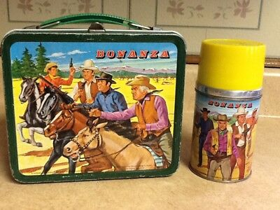 Vintage 1963 Bonanza Metal Lunch Box and Thermos Aladdin VERY NICE CONDITION