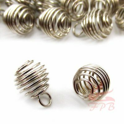 20PCS Gold Plated Lantern Coil Pendant Charm Beads Cages Jewellery 23*18MM