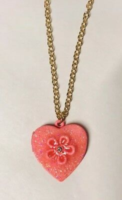 New Justice Heart Locket Pink Jewelry Necklace Girls Gift Sparkle