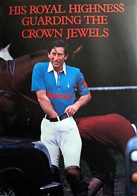 1970 Prince Charles Guarding the Crown Jewels Poster Sign Unused Old Store Stock