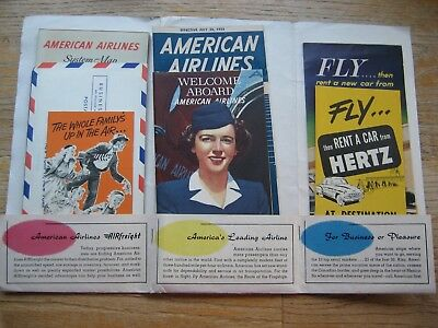 American Airlines Flagship Flight Information Packet Lot 1953 Map/Timetable
