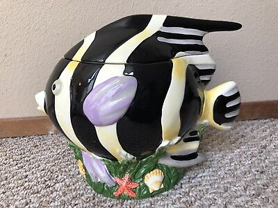 "Fish Cookie Jar Sakura Claire Murray Handpainted Raised Relief 10"" Tall Colorful"