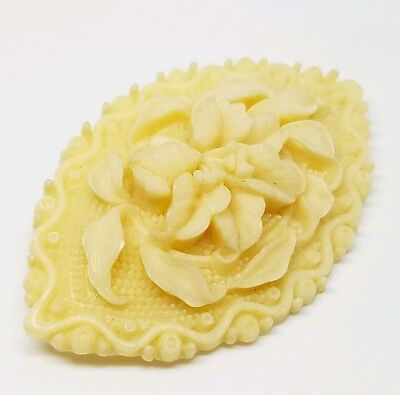 Intricate Vintage Hand Carved Celluloid Victorian Floral Lotus Flower Brooch Pin