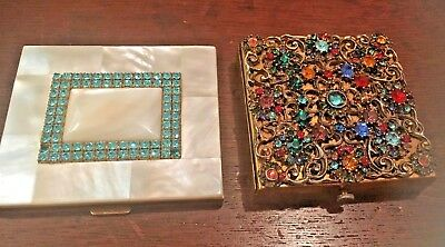 Lot 2 Vintage 1950's Mirror Compacts Jewel encrusted+Mother of Peal Rhinestones